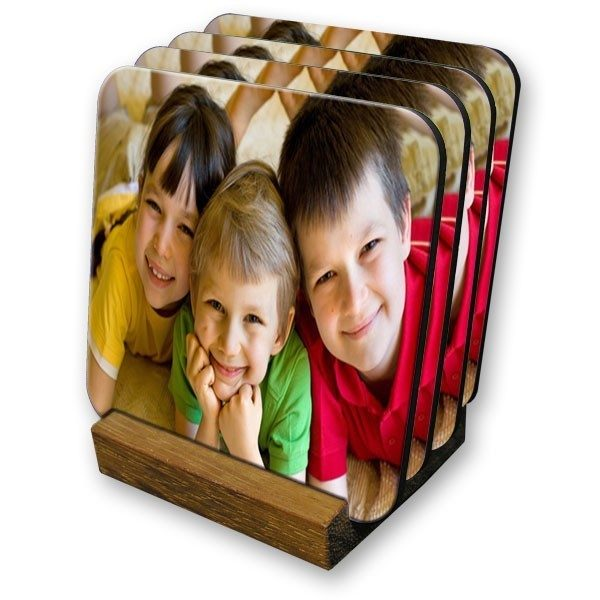 Set of 4 personalised photo coasters
