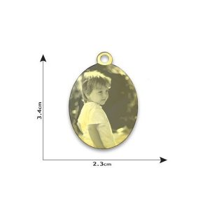 Photo engraved oval pendant