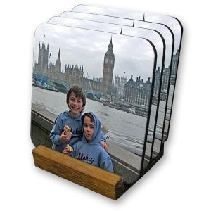 Set of 4 personalised large photo coasters