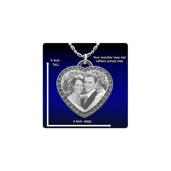 Photo Pendant - Diamante Heart - Large
