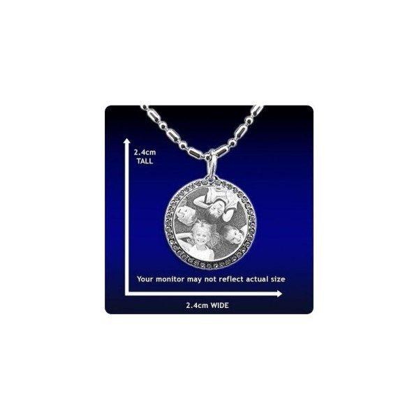 Photo engraved Pendant - Diamante Round Jewellery