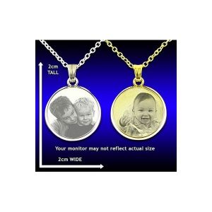 Photo engraved round pendant deluxe bevel