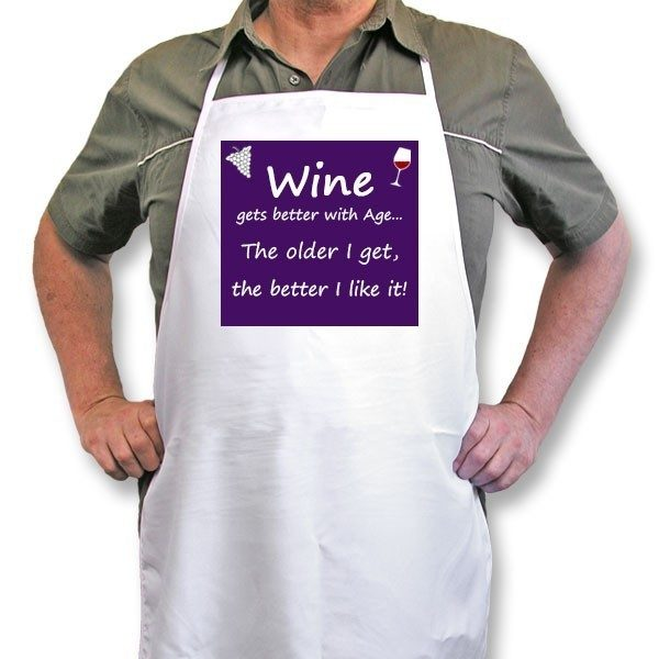 "Personalised Apron ""Wine gets better with Age"""