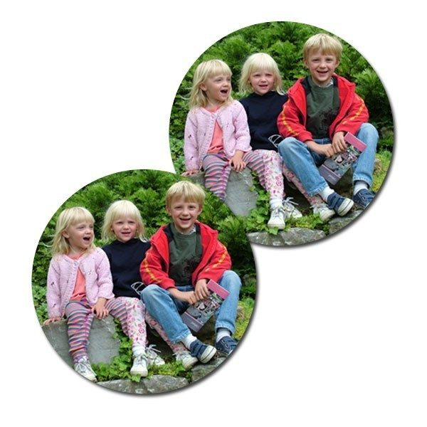 Matching personalised round photo coasters