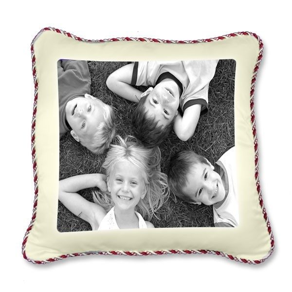 Printed photo Cushion Cover with red and silver piping