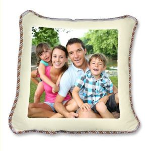 Printed photo silky cream Cushion Cover with gold and silver piping