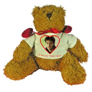 Personalised Valentines Gift Teddy Bear with red velvet bow-tie