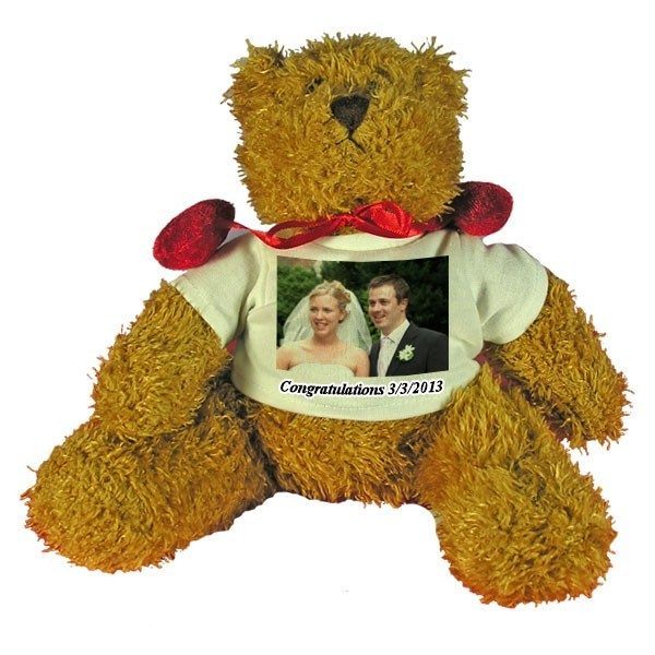 Personalised wedding gift Teddy Bear with red velvet bow-tie