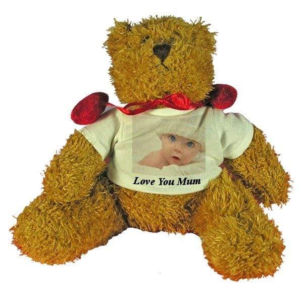 Personalised Mother's Day gift Teddy Bear with red velvet bow-tie