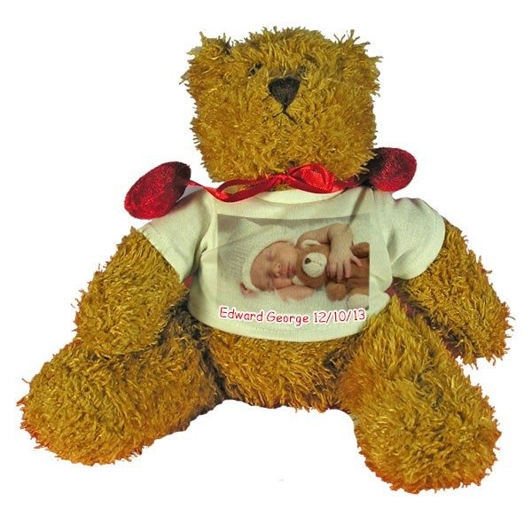 Personalised New Baby gift Teddy Bear with red velvet bow-tie