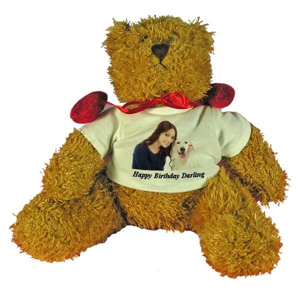 Personalised Happy Birthday Teddy Bear with red velvet bow-tie