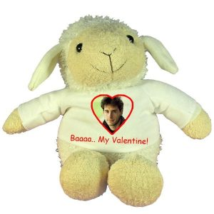 Personalised Valentines Gift Soft Plush Sheep with printed message