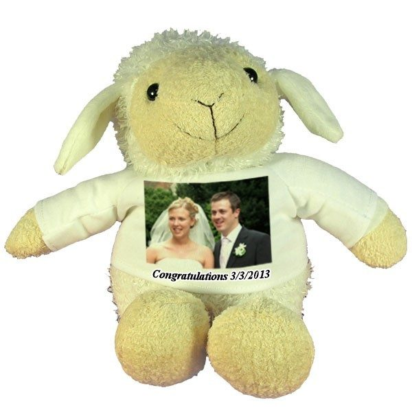 Personalised Wedding Gift Plush Sheep with printed message