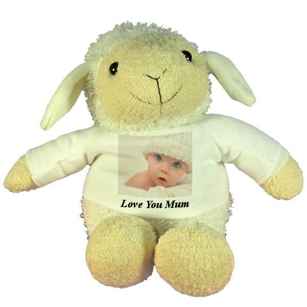 Personalised Mothers Day gift Plush Sheep with printed message