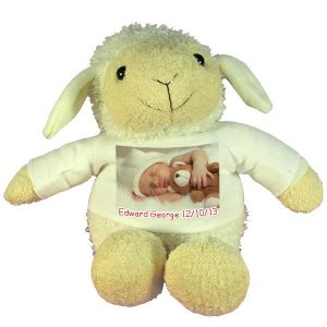 Personalised New Baby gift Plush Toy Sheep with printed message