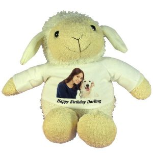 Personalised Happy Birthday gift Plush Sheep with printed photo