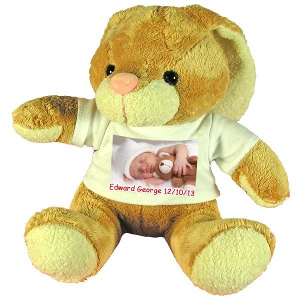 Personalised new baby gift soft toy rabbit with floppy ears