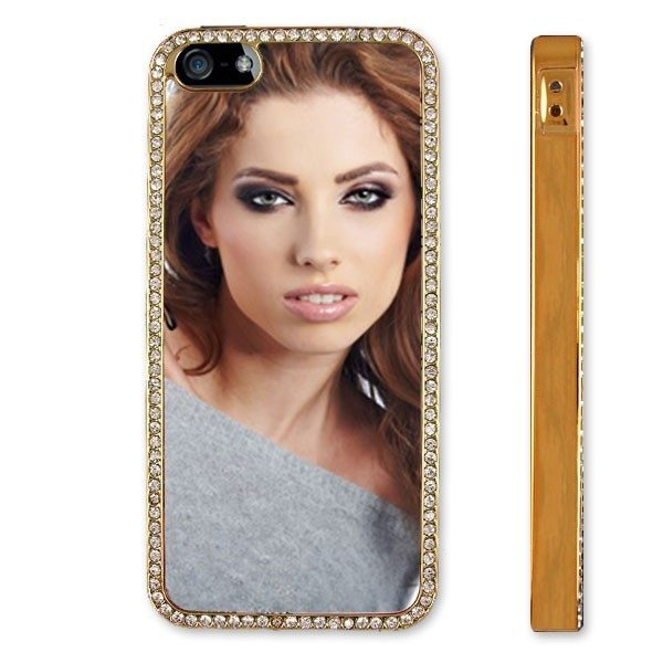 Personalised iPhone 5 metallised Gold and inlaid diamante protective case
