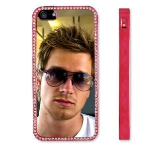 Personalised iPhone 5 metalised red and diamante protective case