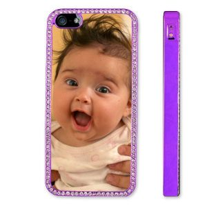 Personalised iPhone 5 metallised purple and diamante protective plastic case