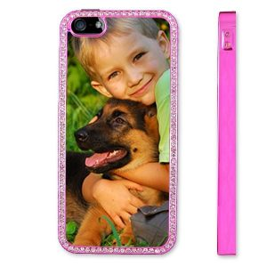 Personalised iPhone 5 Pink Protective Case with Diamante