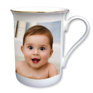 Bone China Photo Mug with Gold Edging