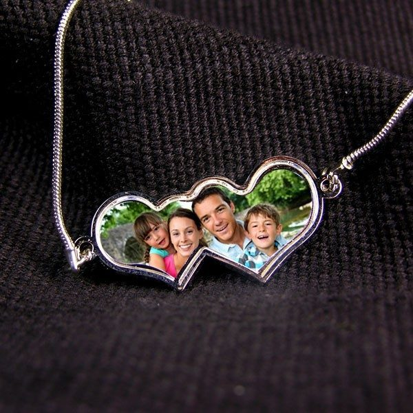 Double Heart Photo Pendant