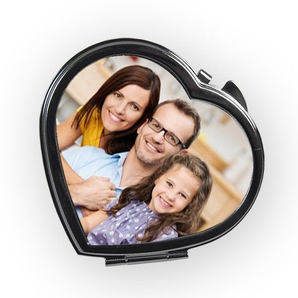 Heart Shaped Compact Mirror printed with a photo