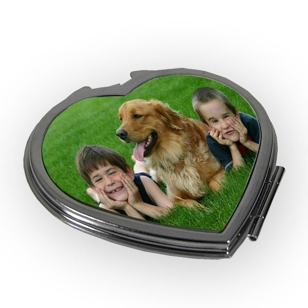 Printed Photo Keepsake Heart Shaped Compact Mirror