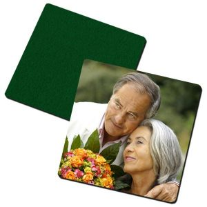 Square Photo Coaster with Green Felt Backing